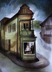 """Lukas JohannesAigner """"Die Stiegengasse"""" Acryl auf MDF, 100x70cm, 2015"""
