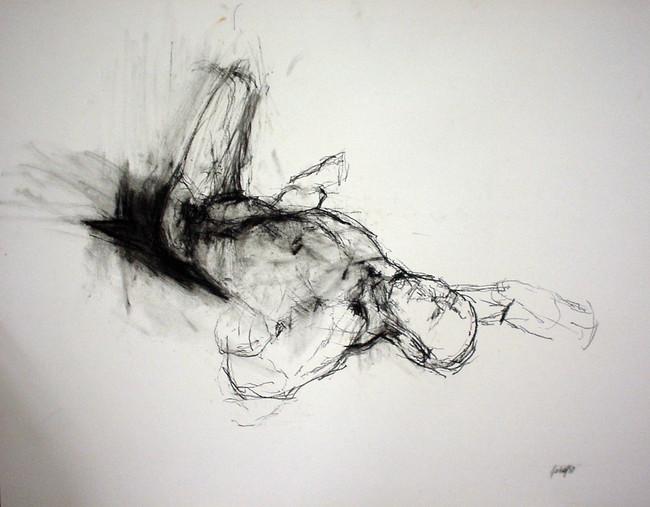 männl. Akt 2001, 50x70 cm, Kreide