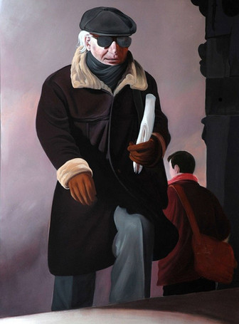 """Lukas Johannes Aigner, """"Das Alter kommt, die Jugend geht"""", Acryl auf MDF, 190x140 2009"""