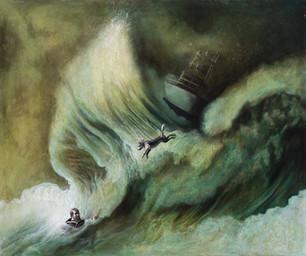 """Lukas Johannes Aigner, """"Der letzte Sprung"""", Acryl auf MDF, 100x120cm, 2013"""