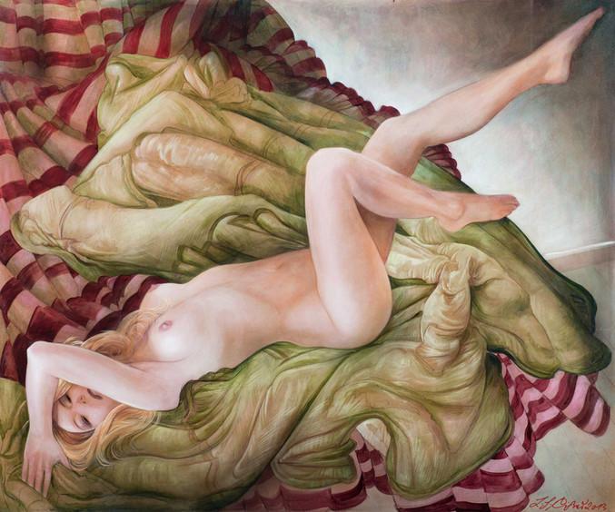 """Lukas Johannes Aigner, """"Aber das Bild bleibt bei mir, Nr.1"""", Acryl auf MDF, 100x120cm, 2013"""