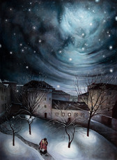"""Lukas Johannes Aigner,"""" Blick aus meinem Fenster in Alturfahr"""" Acryl auf MDF, 200x160, 2014"""