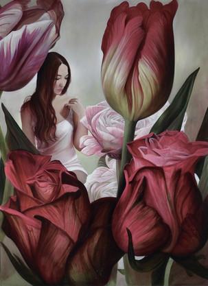 """Lukas Johannes Aigner, Aus dem Zyklus: """"Oksana, durch die Blumen gemalt"""", Acryl auf MDF, 191 x 141 cm, 2016"""