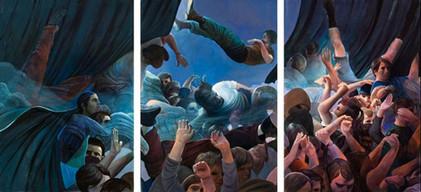 "Lukas Johannes Aigner""The Stagediver Nr.III"", Acryl auf Tafel, Triptychon, 420x 200, 2008"