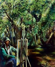 Selbstportrait im Regenmantel Acryl,Öl auf Leinen 150x180