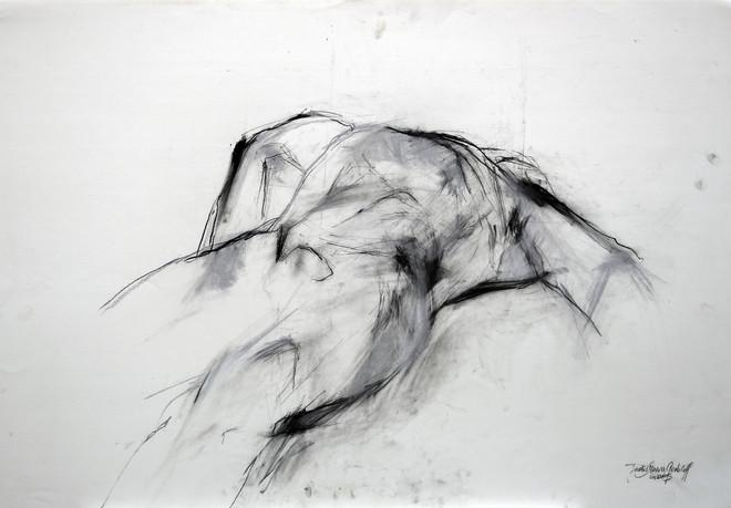 männl. Akt liegend 2015, 100x70 cm