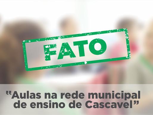 Ouviu falar de suspensão das aulas em Cascavel? #ÉFATO