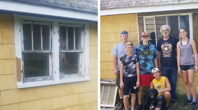 Before/After of a Replaced Window for a Local Veteran