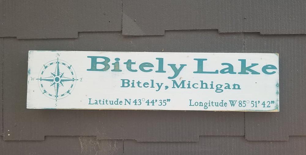 Bitely Lake Sign