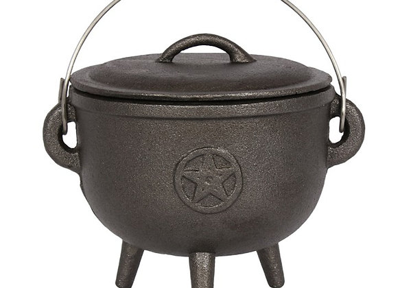 15CM CAST IRON CAULDRON WITH PENTAGRAM