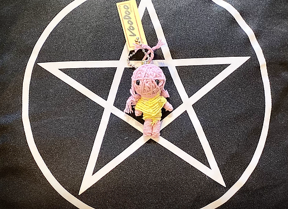 Voodoo Doll Keyring - Yellow & Pink