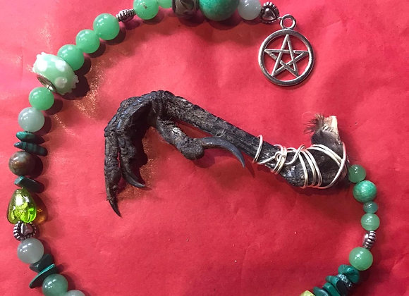 Mixed Crystal Crows Foot Pendulum - Green