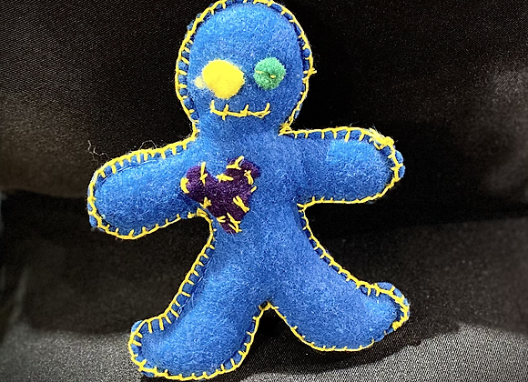 Handcrafted Poppet Doll -Blue&Yellow