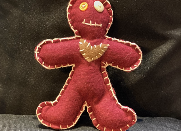 Handcrafted Poppet Doll - Brown Heart