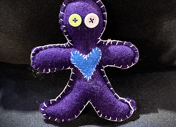 Handcrafted Poppet Doll - Purple&Blue
