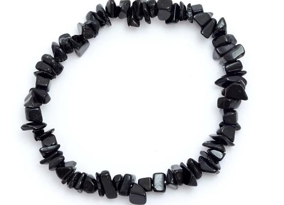 Black Tourmaline - Elasticated Chip Bracelet
