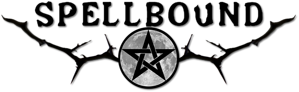 Spellbound word, with moon in the centre, antlers either side and pentagram in the middle, our logo