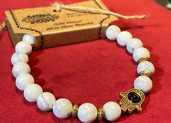 Gold Hamsa/White Stone - Gemstone Bracelet