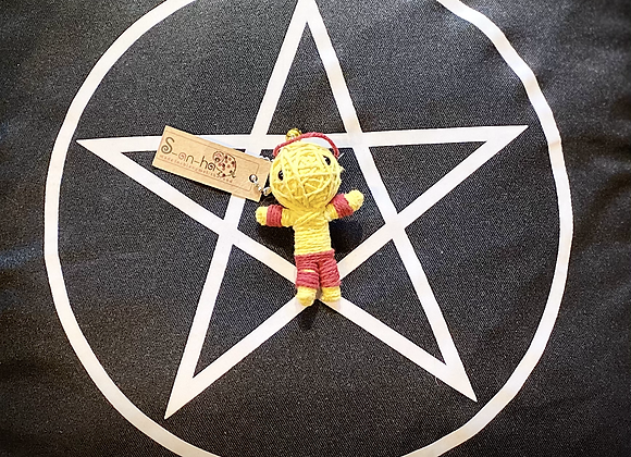 Voodoo Doll Keyring - Yellow/Red