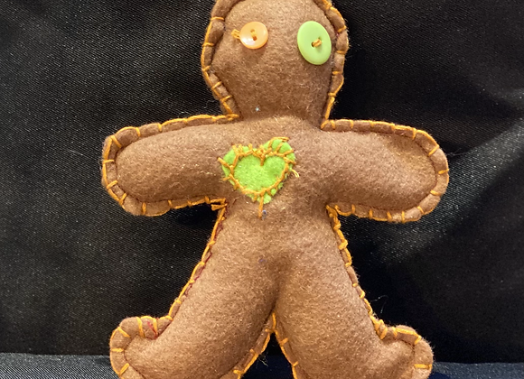 Handcrafted Poppet Doll - Lime Heart
