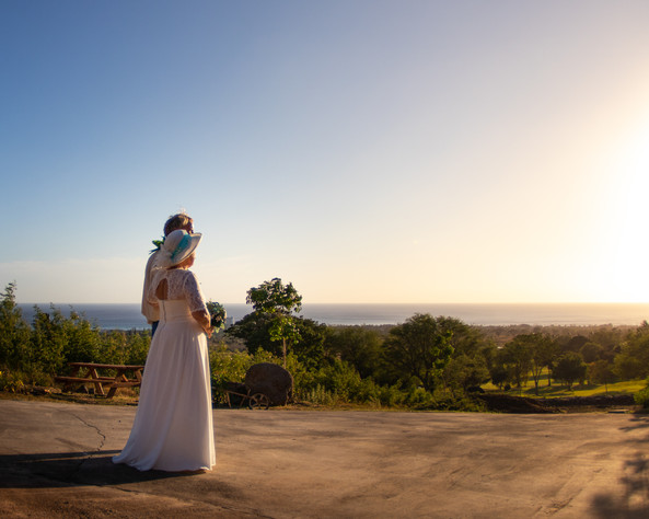Bride and groom watching sunset