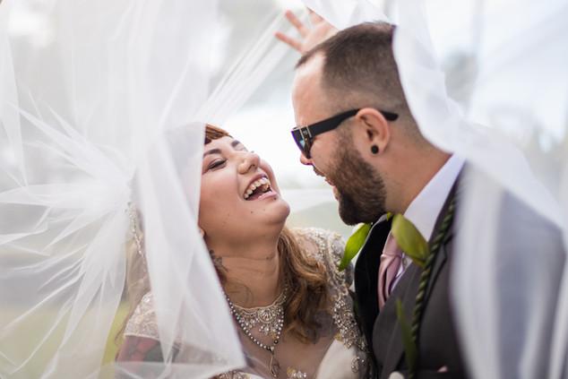 Oahu Bride and Groom Under Veil