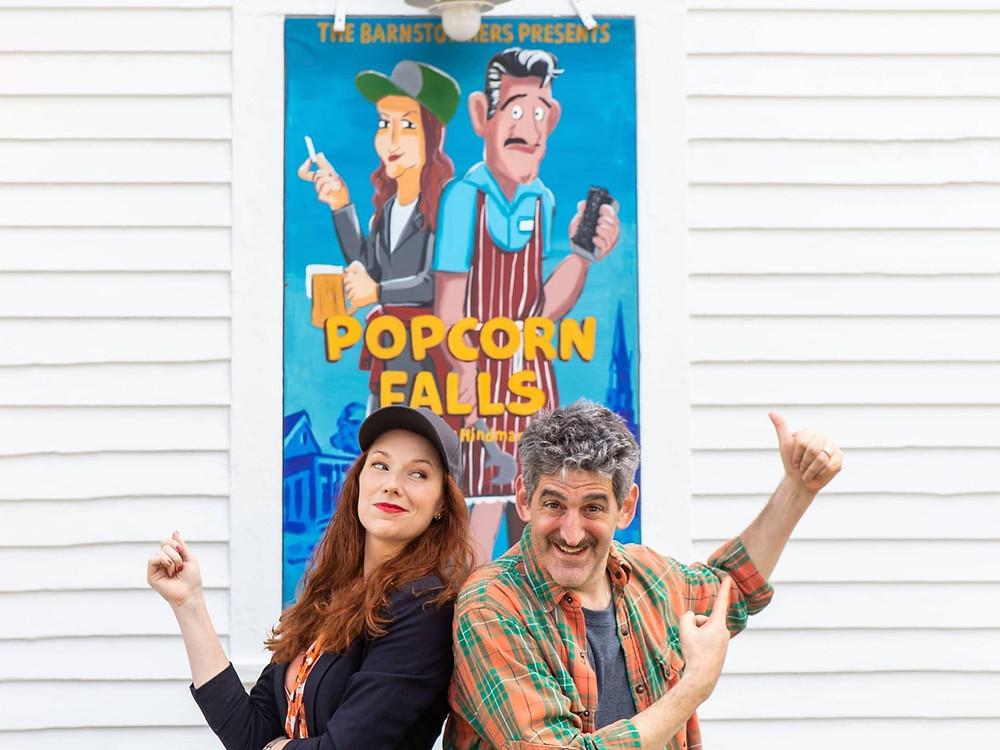 "Doug Shapiro and Amanda Huxtable in ""Popcorn Falls"" at The Barnstormers Theatre, 2021"