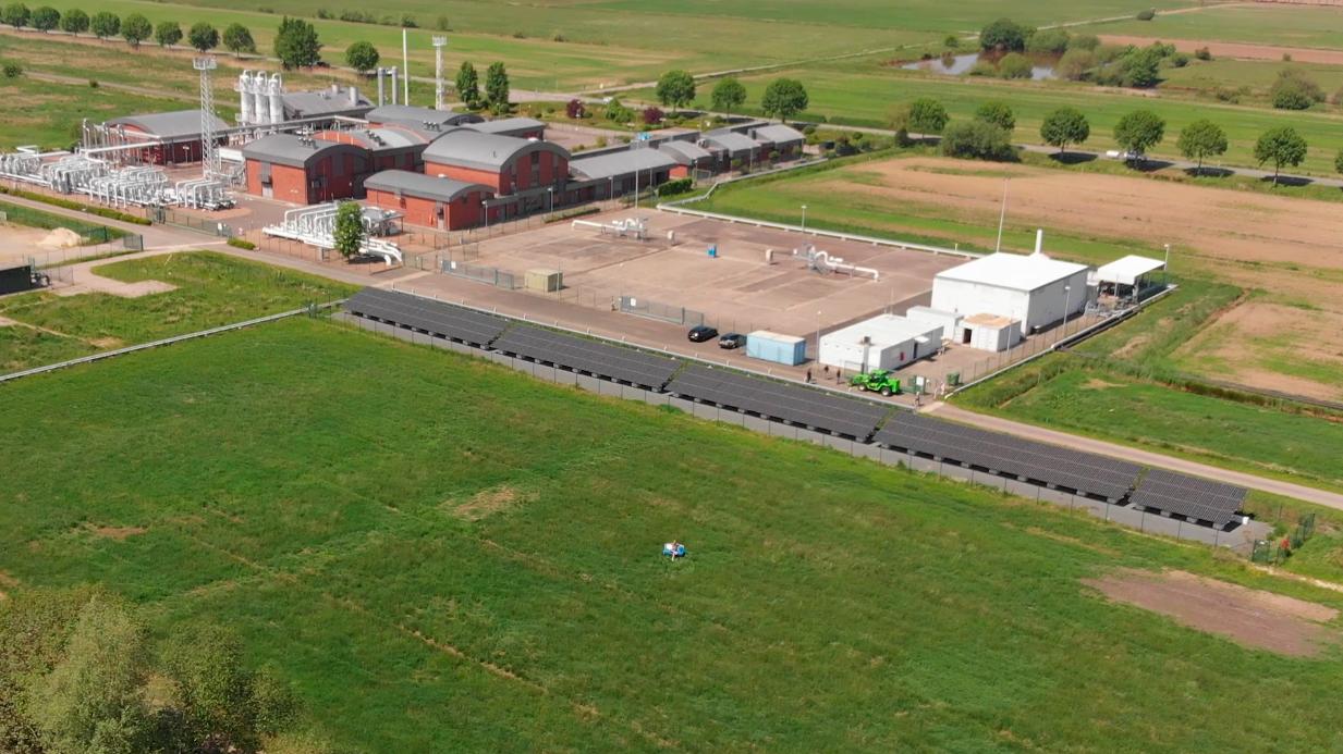 Die Photovoltaik-Anlage und Wasserstoff-Tankstelle in Huntorf
