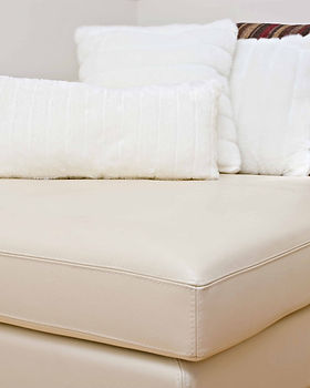 Clean whte leather lounge sofa couch