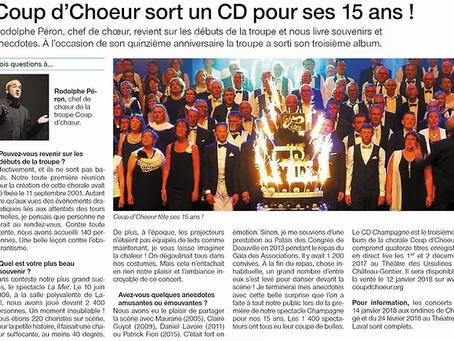 COUP d'CHOEUR sort un nouveau CD pour ses 15 ans !!!!!