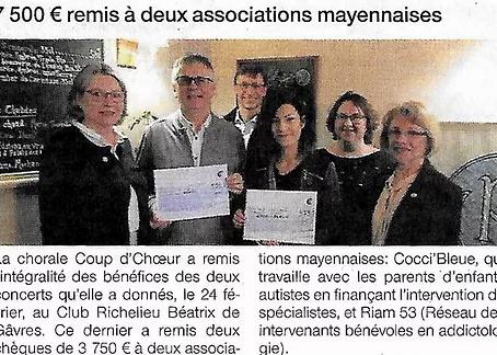 7500 € remis à deux associations mayennaises.