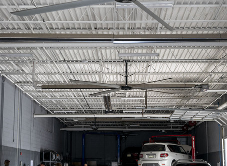 (카센터)ECO HVLS FAN INCREASES COOLING, DECREASES FUMES IN TENNESSEE CAR SERVICE CENTER