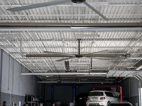 (카센터)ECO HVLS FAN INCREASES COOLING, DECREASES FUMES IN TENNESSEE CAR SERVICE CENTER
