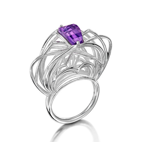 Ricard Silver Ring with Amethyst
