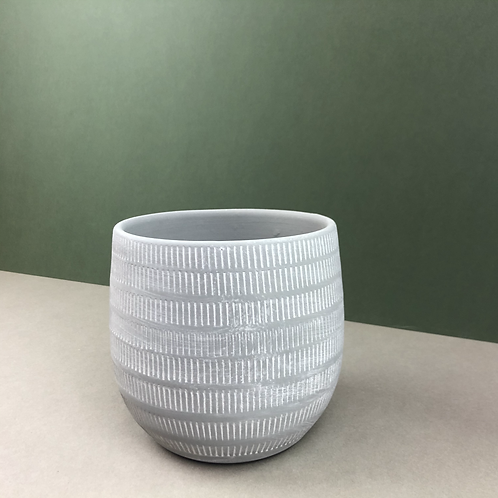 Grey Ceramic Planter with White Markings