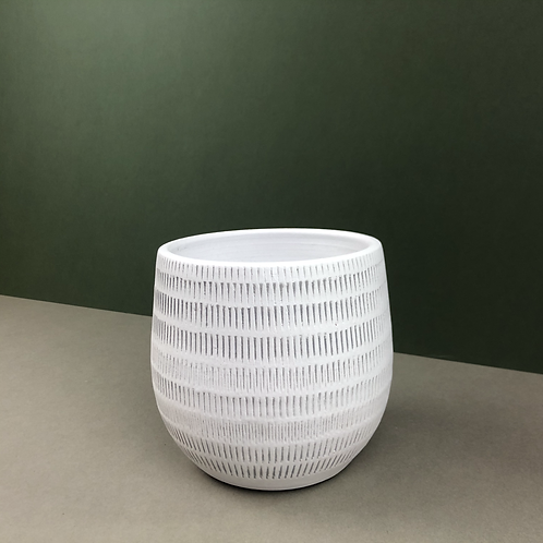 White Ceramic Planter with Grey Markings