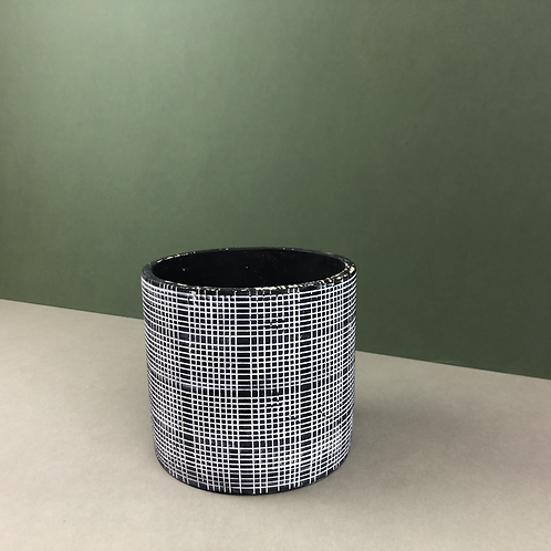 Black Ceramic Planter with Graph-Lines