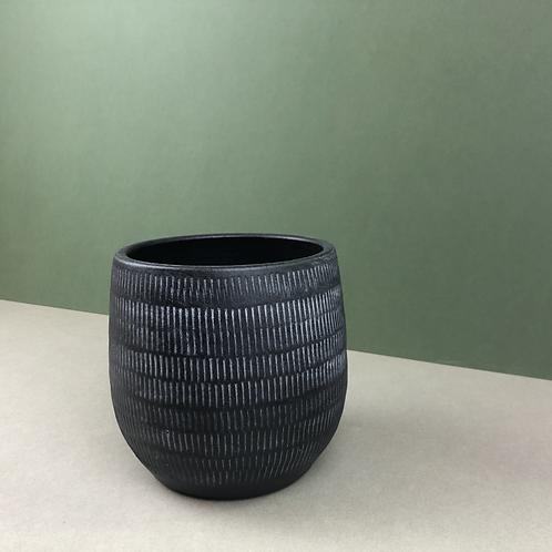 Black Ceramic Planter with White Markings