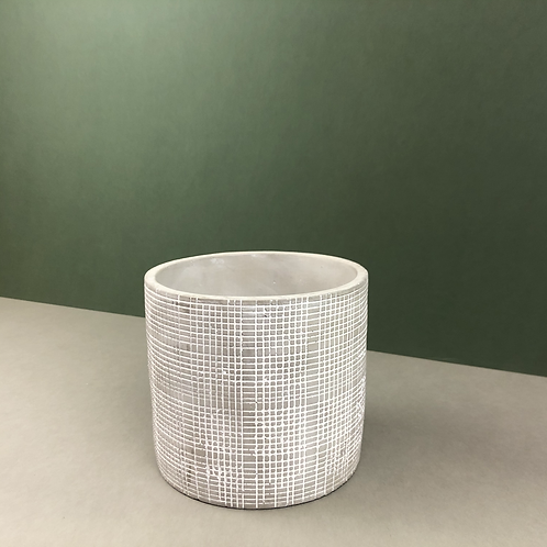 Grey Ceramic Planter with Graph-Lines