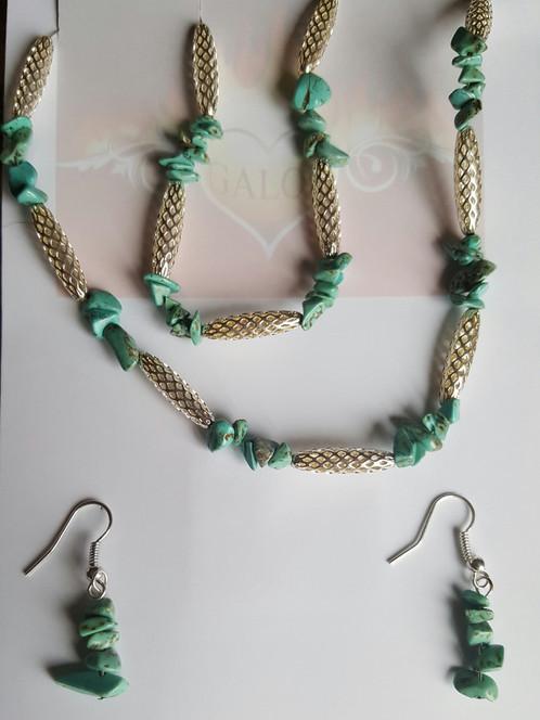Well-known Semi precious Hollow oval bead set Turquoise | Custom Jewellery  RW31