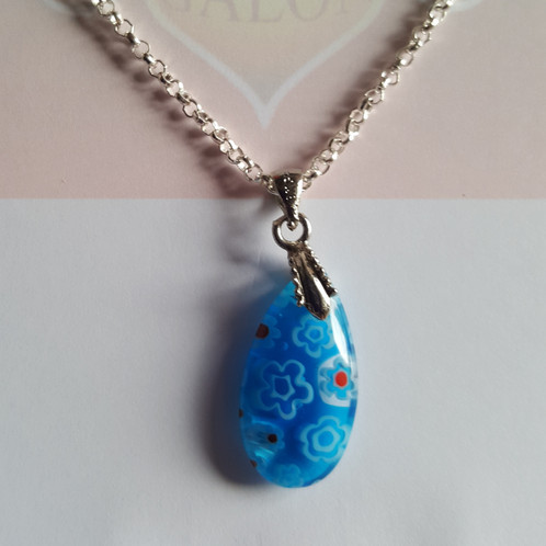 necklace designer item glass crystal bead gift jewelry blue genuine silver tibet fashion lot gemstone