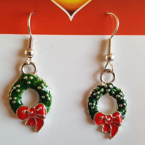 Christmas Wreath Earrings Enamelled