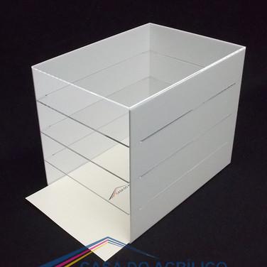 Organizador A4 branco com 4 divisões