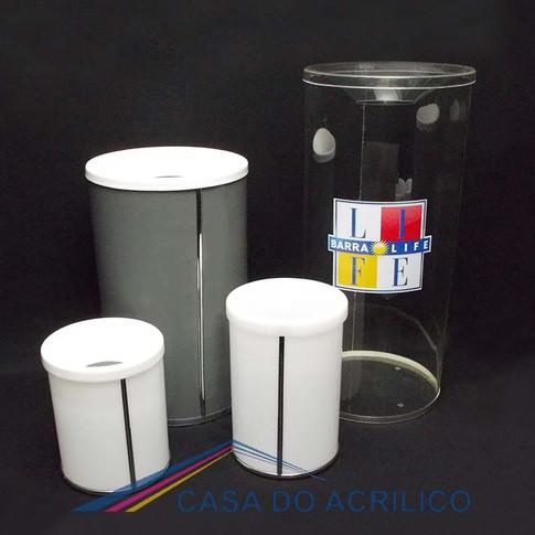Lixeira de acrílico cilindrica