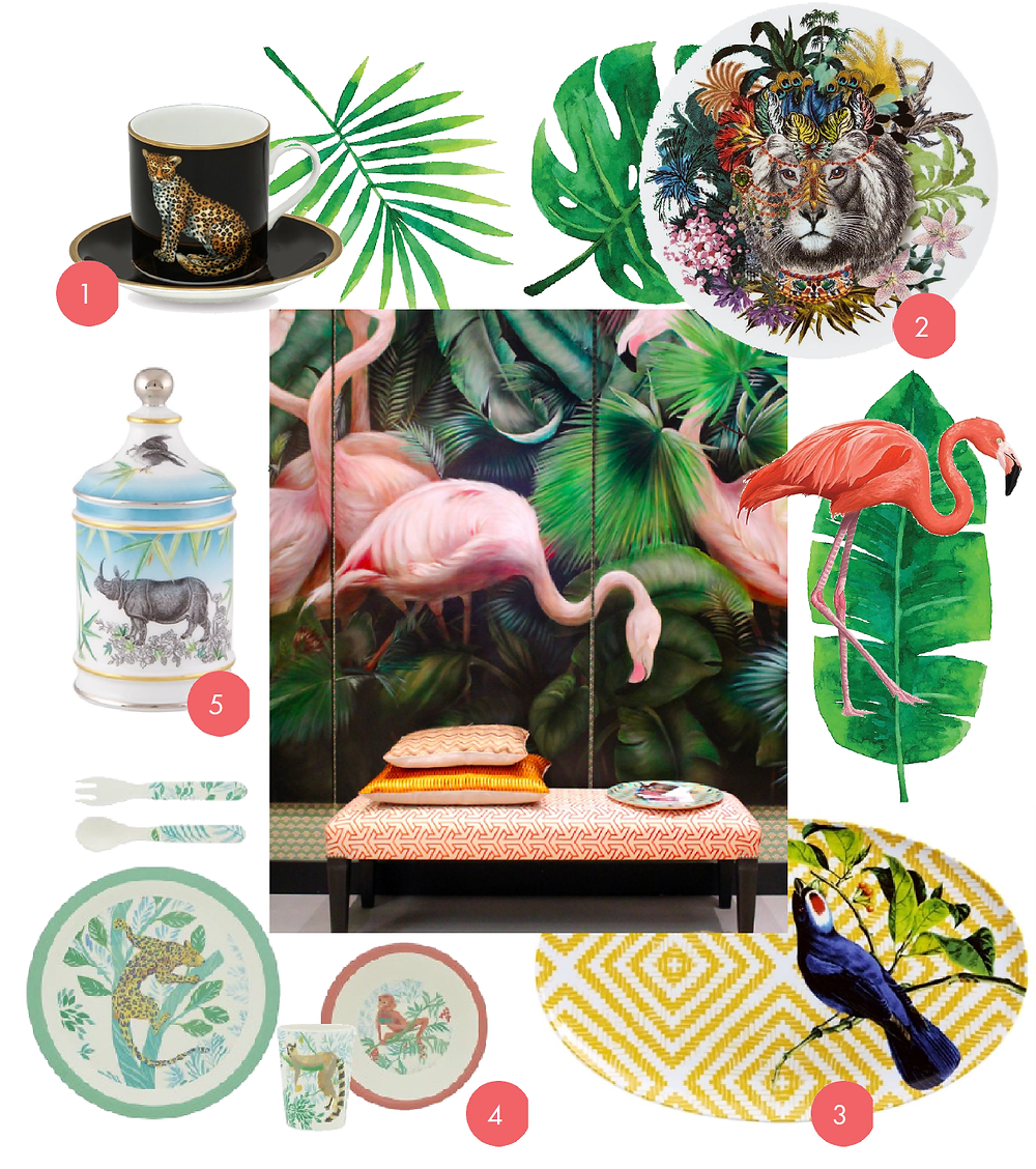 Wild life, flamingo, christian lacroix, wild animal, luxury tableware, trauki, ekskluzīvi trauki, porcelāns