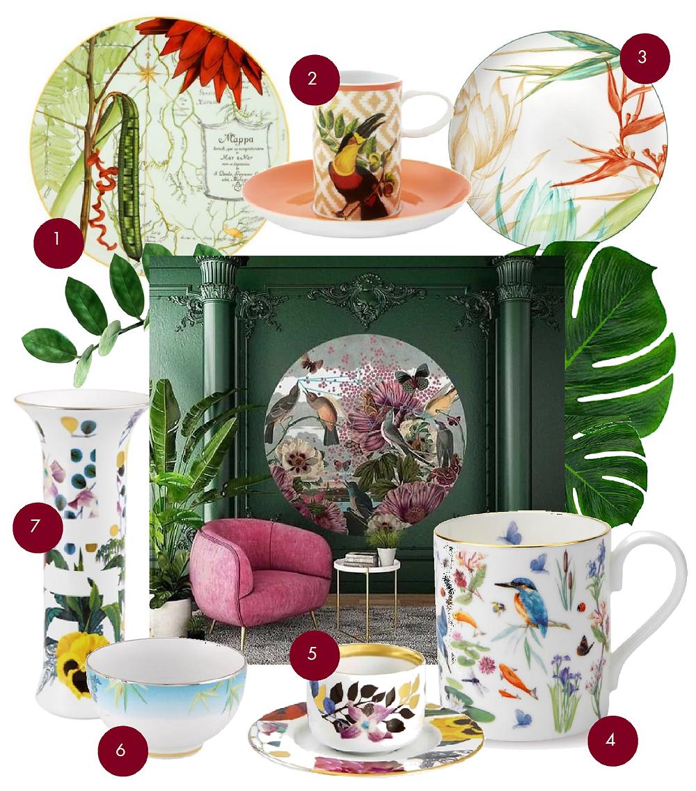 Christian Lacroix collage, Greenlife collage, kolāža, ziedu motīvi, eksotika