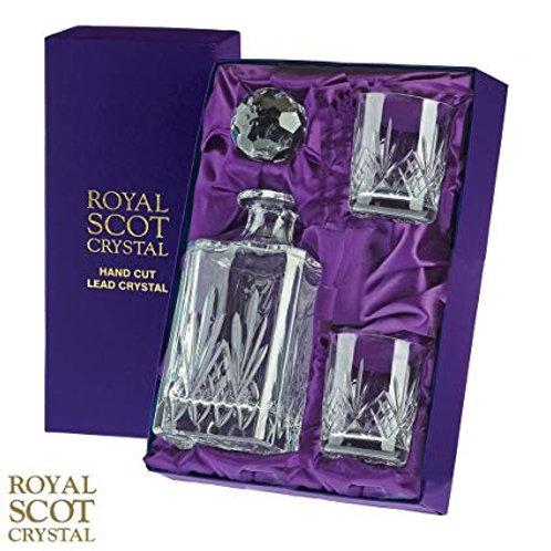 Viskija karafe un 2 glāzes Royal Scot Crystal