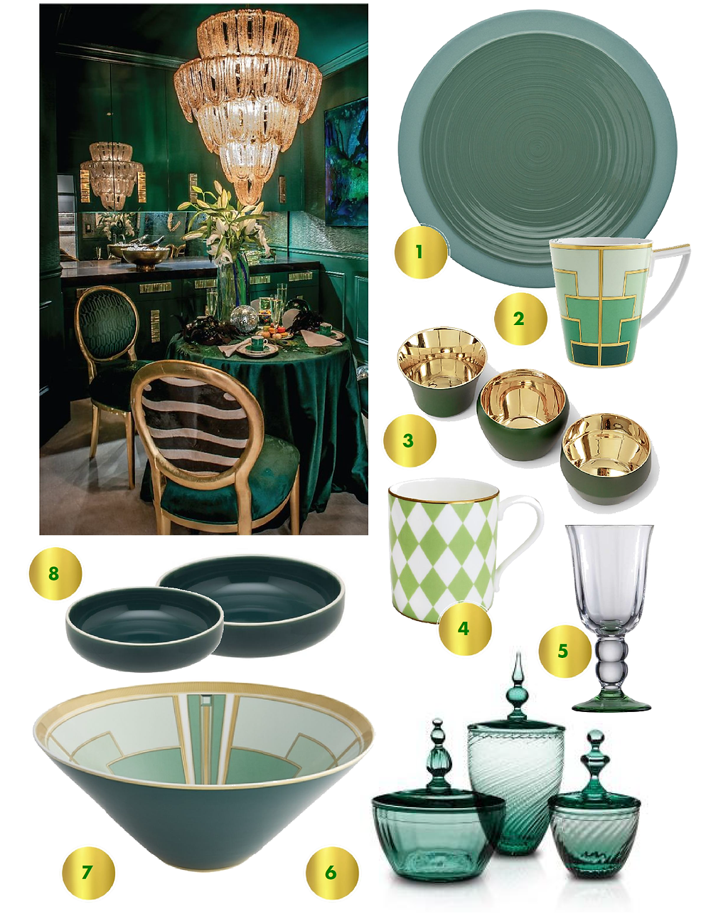 Green collage; green trand; green tableware