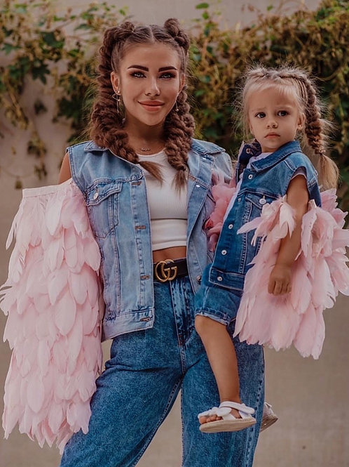 Denim Feathers Jackets Mom&daughter