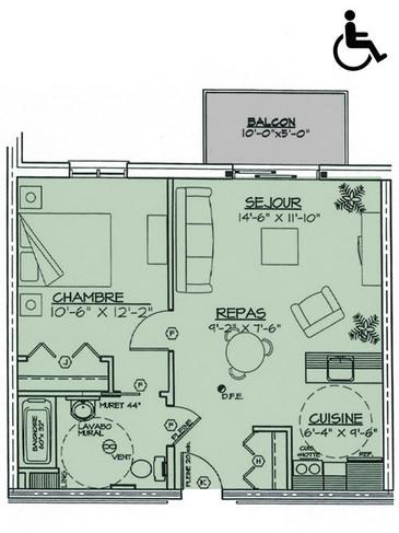 Appartement 3 1/2 (590 p.c.)